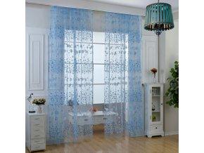Záclona s květinovým motivem - různé barvy - SLEVA 50% (Barva Růžová)