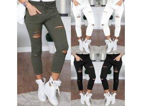 Dámské slim kalhoty s dírami více barev