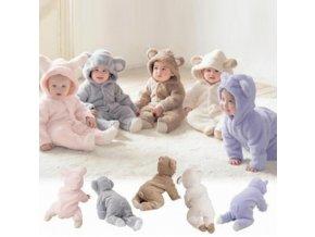Dětský župan s kapucí 0-3 měsíce - různé barvy - SLEVA 70% (Barva Růžová)