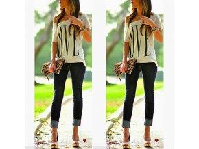 Dámské stylové tričko - různé velikosti - SLEVA 70% (Barva Bílá, Velikost S)