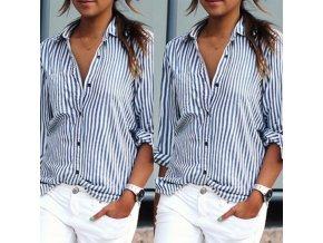 Dámská modrobílá pruhovaná košile - různé velikosti - SLEVA 60% (Barva Modrá, Velikost S)