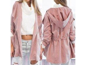 Dámský růžový kabát s kapucí - SLEVA 30% (Velikost S)