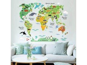 Samolepící dekorační mapa světa