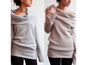 Luxusní dámský svetr - SLEVA 25% (Barva Šedá, Velikost XL)