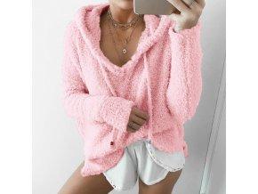 Dámský stylový svetr - SLEVA 35% (Barva Růžová, Velikost XL)