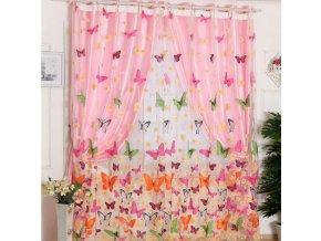Metrážová záclona na okno s motýly