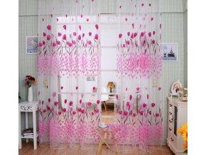 Romantická růžová záclona s tulipány