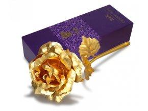 Dekorace do bytu - pozlacená růže v dárkové krabičce více barev