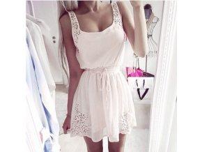 Dámské vysoce elegantní bílé šaty + POŠTOVNÉ ZDARMA (Velikost S)