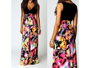 Dlouhé letní květované fashion šaty AKCE až 2XL Akce Novinka b244be9c6a