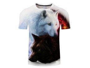 3D Pánské tričko s vlkem