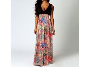 Dlouhé letní šaty s květy AKCE až 2XL