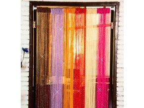Provázkové záclony do bytu se třpytícím efektem v několika barvách