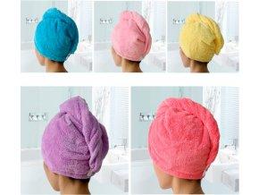 Ručníkový turban na mokré vlasy - ručník velmi dobře absorbuje