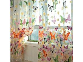 Záclony na okna s motýlky do bytu do dětského pokoje