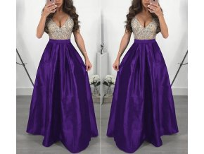 Dlouhé elegantní plesové šaty fialové až 3XL NOVINKA