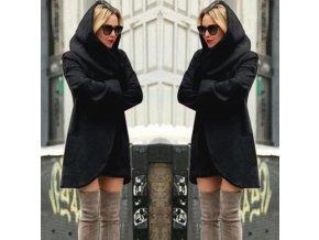 Dámský teplý podzimní černý kardigan s kapucí až 4XL