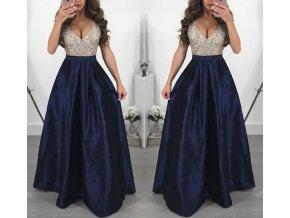 Dlouhé elegantní plesové šaty tmavě modré až 3XL NOVINKA