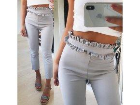 Dámské stylové šedé kalhoty s vyšším pasem NEW