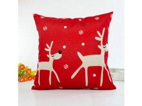 Vánoční dekorace- Vánoční dekorační povlak na polštář červený se sobem 45x45cm