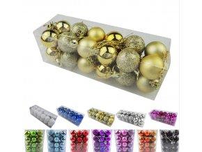 Vánoční ozdoby- Sada vánočních koulí- více barev 24ks