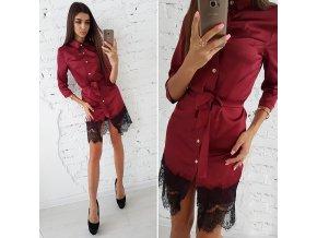 Červené letní šaty s krajkou a vázáním v pase NEW až 2XL