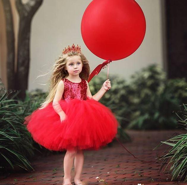 Spoločenské elegantné plesové šaty tylové pre dievčatá červené ... 159f8c8bc15
