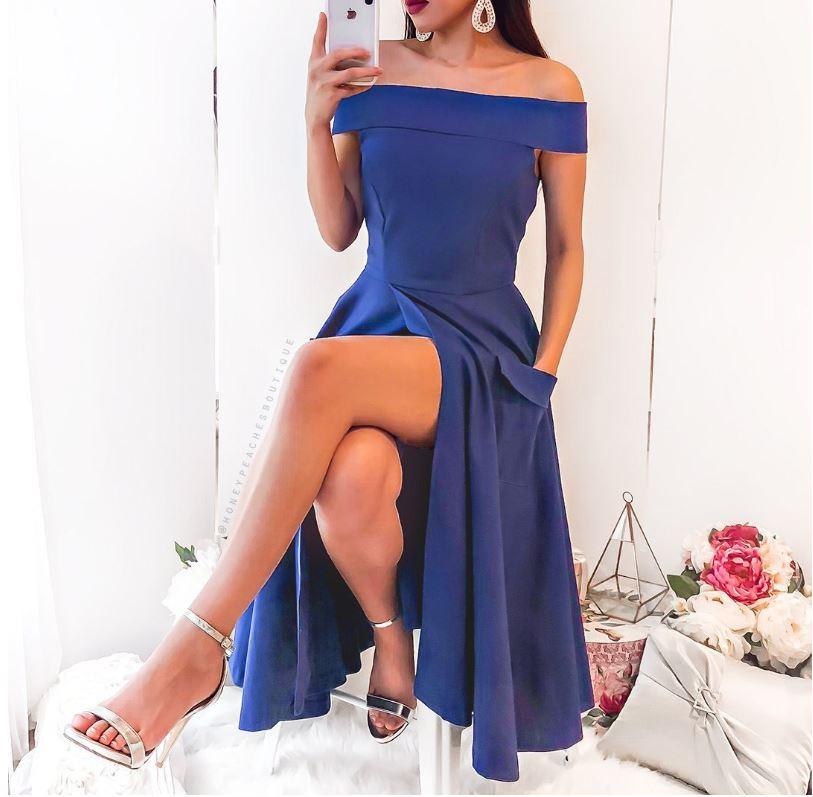 f974a6bc00eb Dámske luxusné plesové modré elegantné šaty s rozparkom NOVINKA ...