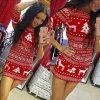 Stylové dámské šaty s motivem vánoc červené AKCE (Velikost XXL)