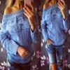 Dámský teplý pletený svetr modrý (Velikost XL)