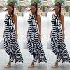 Dlouhé letní šaty s ramínky a vzory AKCE (Velikost XL)