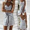 Letní pruhované šaty se zavazováním TOP (Velikost XL)