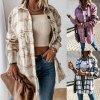 Dámské oblečení - dámská kostkovaná teplá košile s velkými knoflíky - kabát - výprodej skladu