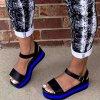 Boty - dámské boty - dámské letní černé sandály s barevným pruhem - dámské sandály - dámské letní boty