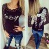 Dámské fashion tričko ANGEL s dlouhým krajkovaným rukávem černé + DOPRAVA ZDARMA (Velikost XL)
