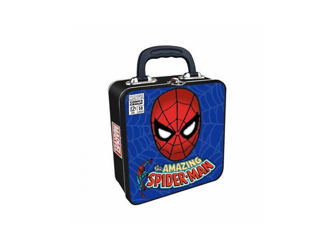 Amazing Spiderman Square Embossed Tin Tote Metal Lunch