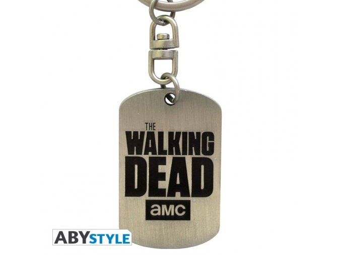 the walking dead keychain dog tag logo x4