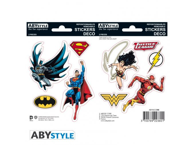 dc comics stickers 16x11cm 2 planches justice league x5
