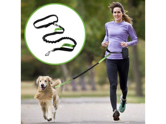 Vodítko multifunkční běžecké zelená/šedá