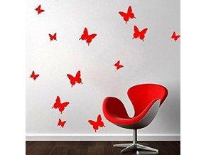 Motýlci na zeď 3D - červená