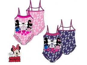 Plavky jednodílné Minnie Mouse s mašličkami