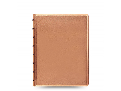 filofax saffiano notebook a5 rose gold front 1