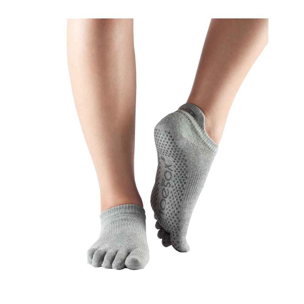 Heather Grey ToeSox Fulltoe Low Rise csúszásgátló zokni (Ruházat mérete L 43_45)