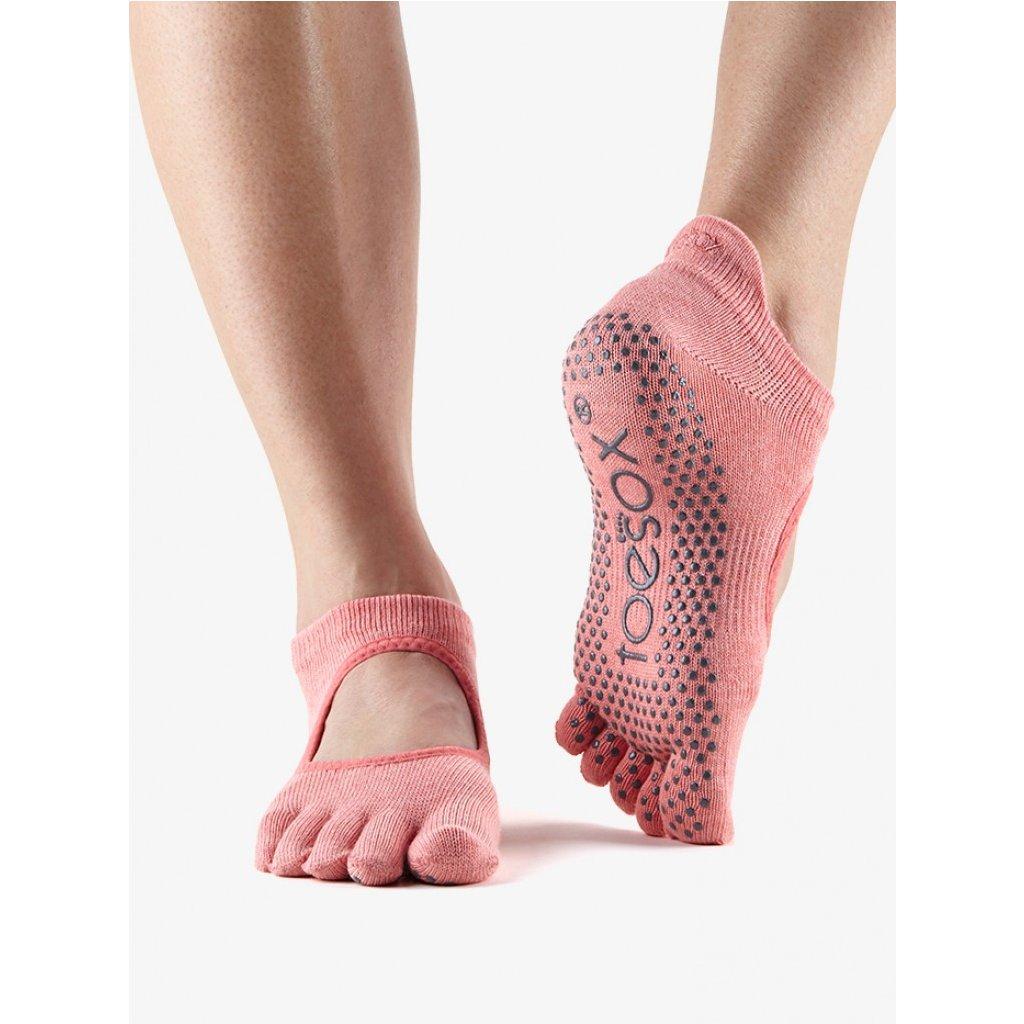 Toesox Fulltoe Bellarina Grip csúszásgátló zokni Rózsaszín (dinnye színű) (Veľkosť oblečenia M 39-42.5)