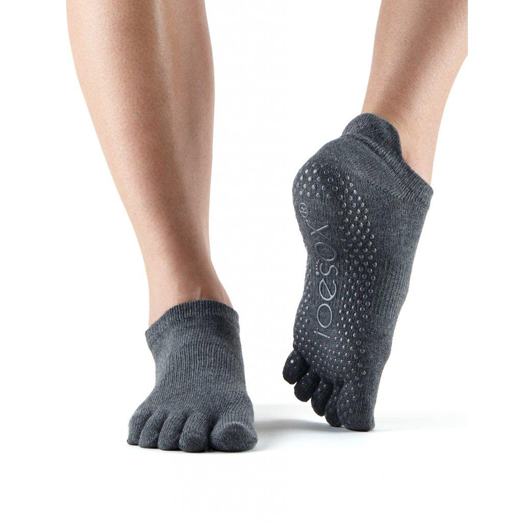 ToeSox Fulltoe Low Rise protišmykové ponožky Charcoal (Veľkosť oblečenia L 43-45)