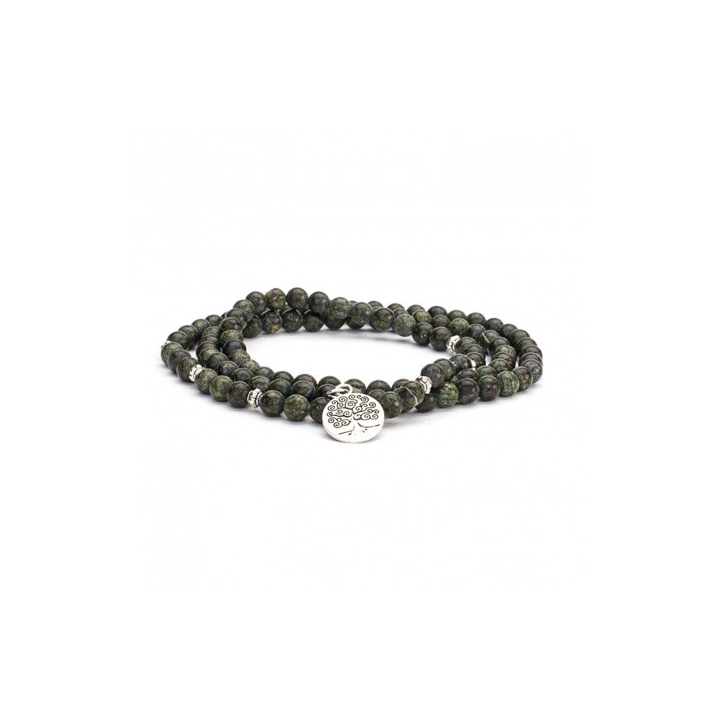 401sgbm yoga mala armband grüner serpentinit mit charm