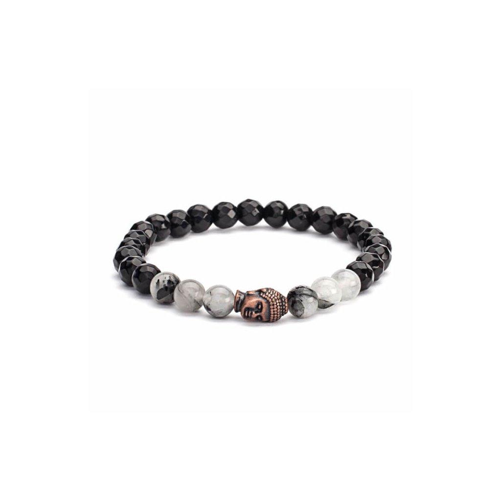 401qsbm yoga mala armband schwarz rutilierter quarz schwarzer achat mit buddhakopf