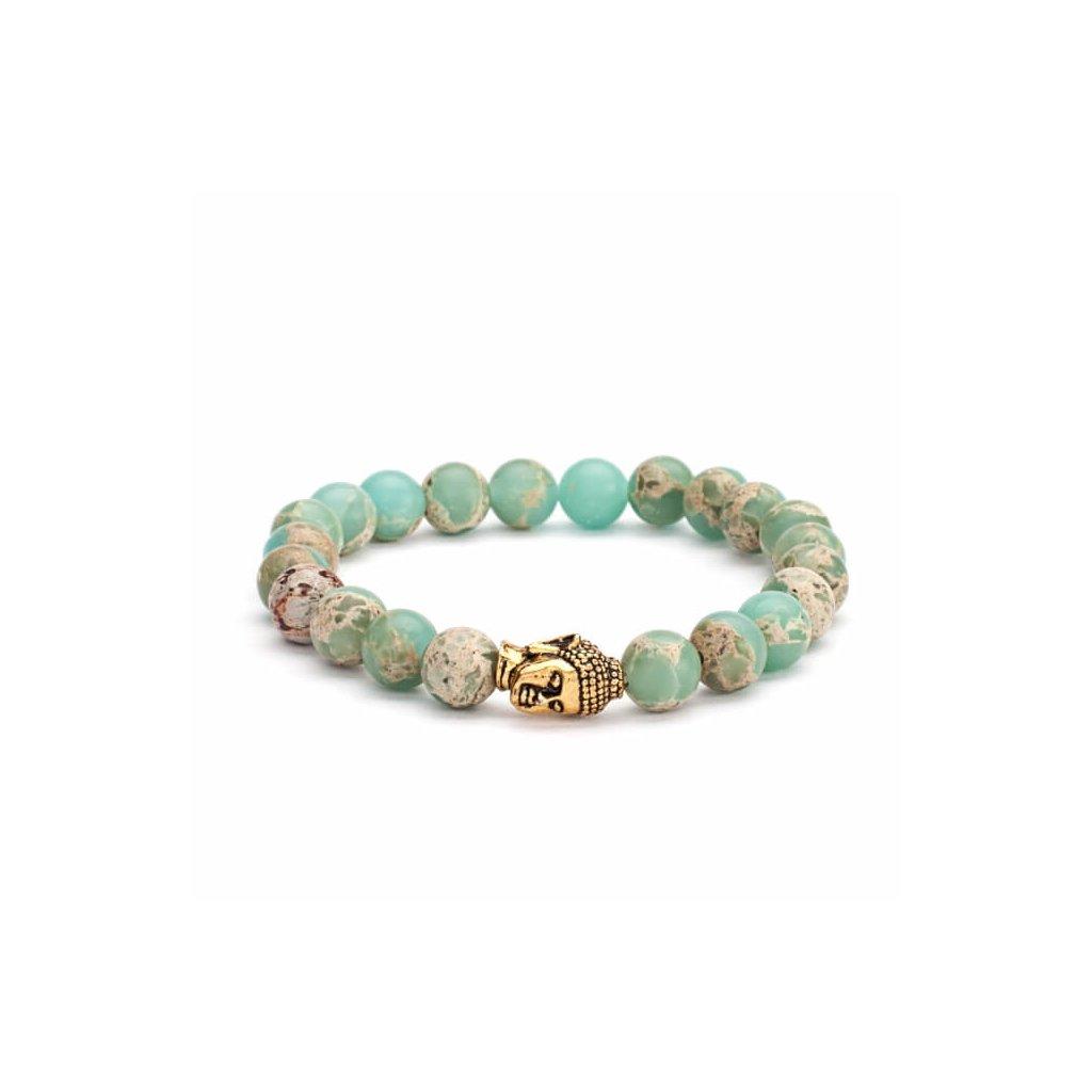 401spbm yoga mala armband pastellfarbener serpentinit mit buddhakopf