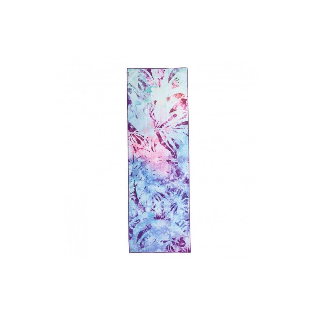 907aal yoga yogatuch grip towel art collection artic leaves blau batik