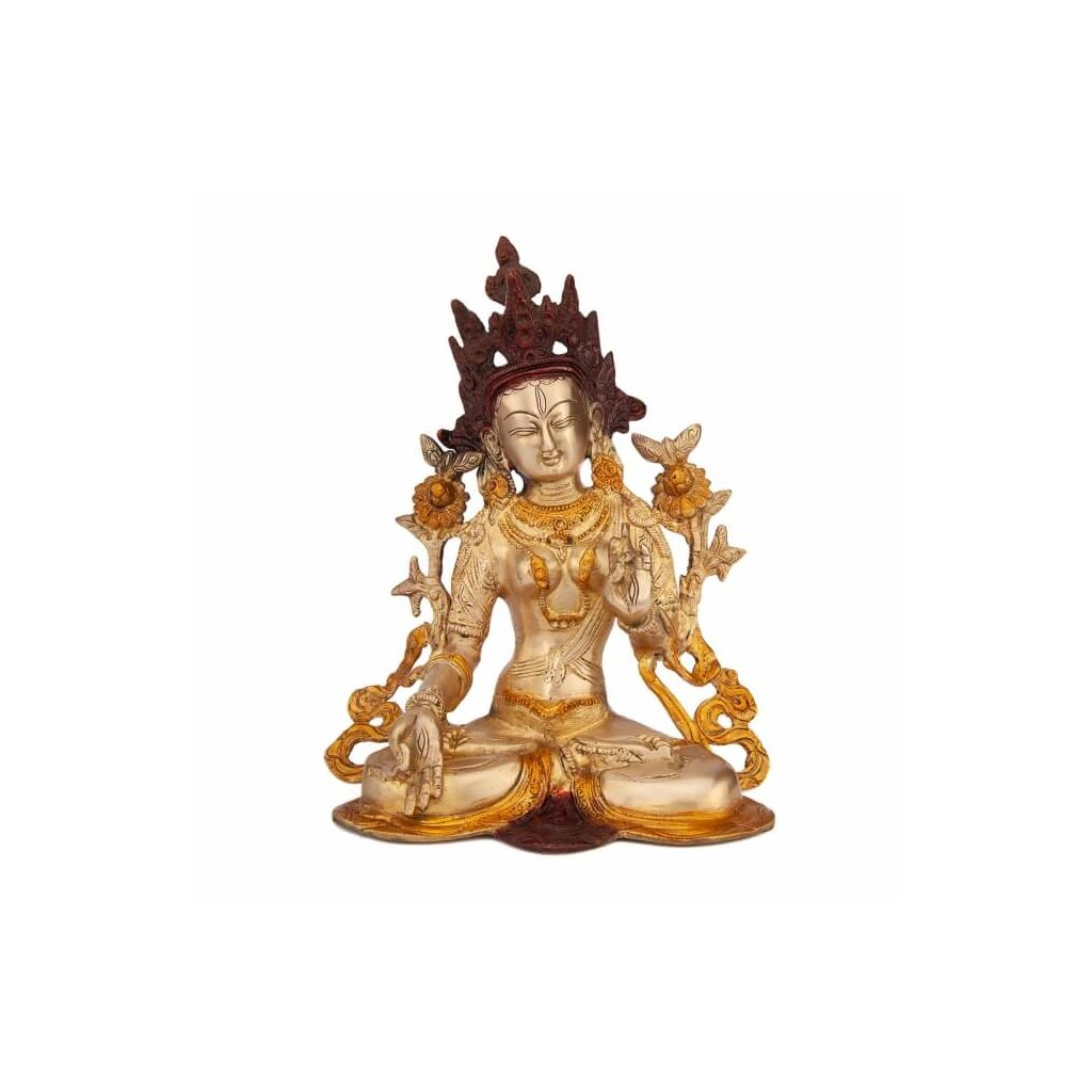 tar23g meditation zubehoer tara statue golden frontal